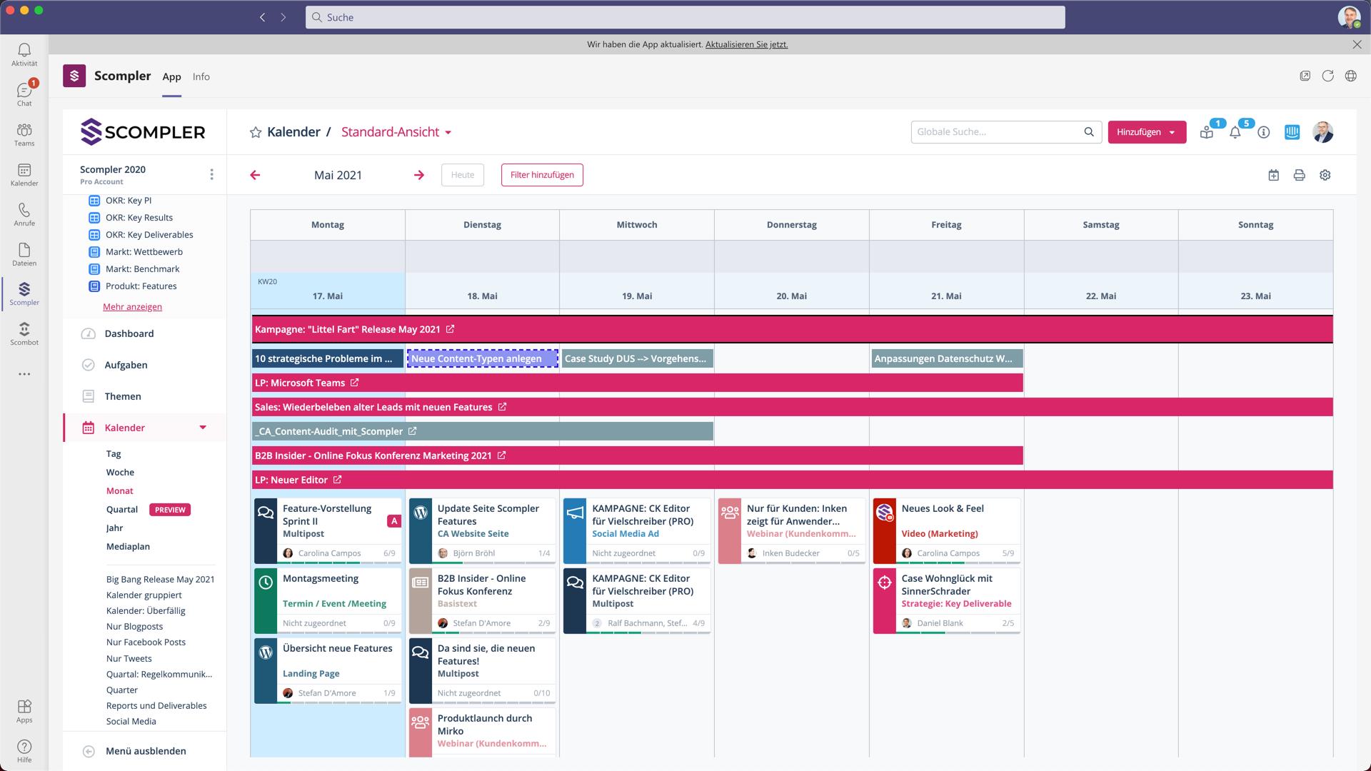 Microsoft Teams Integration Kalender